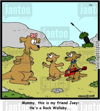 rock wallaby cartoon humor: 'Mummy, this is my friend Joey: He's a Rock Wallaby...'