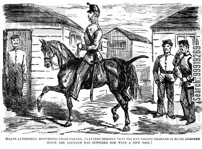 victorian soldier cartoon humor: Horse's Tail