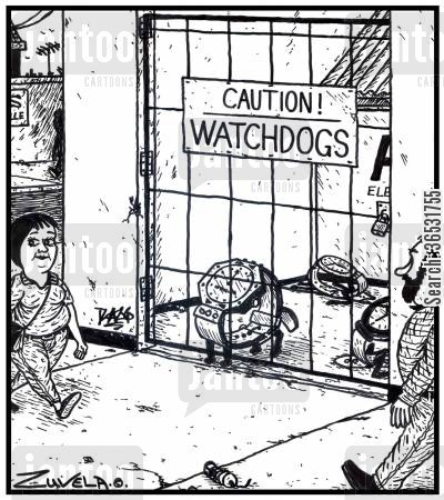 tell the time cartoon humor: Caution! Watchdogs.