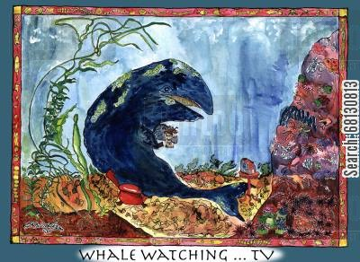 marine mammal cartoon humor: Whale Watching ... TV.