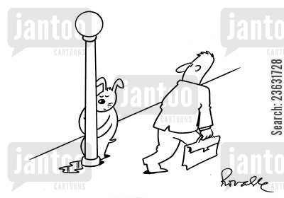 rest rooms cartoon humor: Dog Urinating Against The Lamp Post.