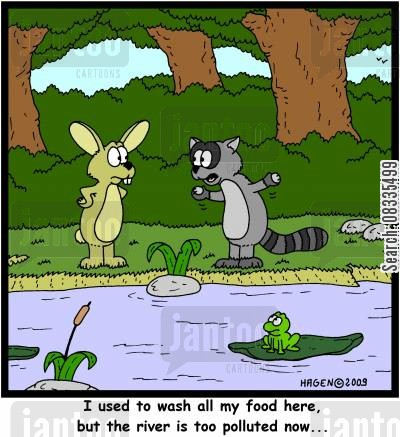riversides cartoon humor: 'I used to wash all my food here, but the river is too polluted now...'