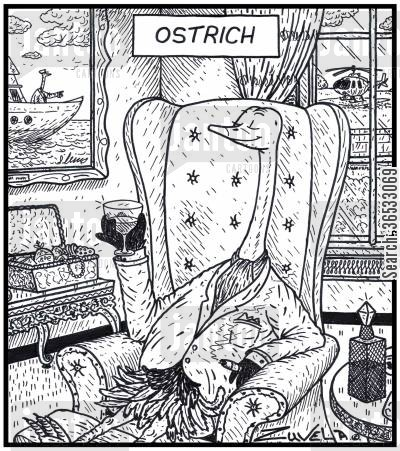 luxury lifestyle cartoon humor: Ostrich.