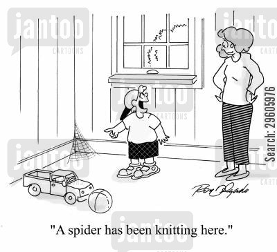 knitters cartoon humor: 'A spider has been knitting here.'
