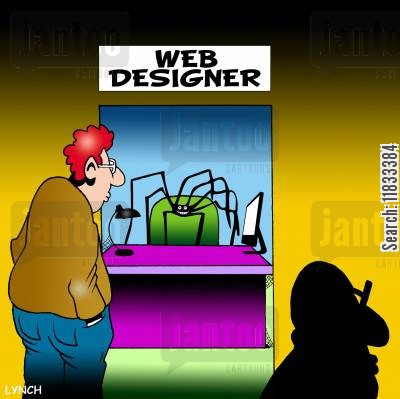 spiderweb cartoon humor: Web designer.