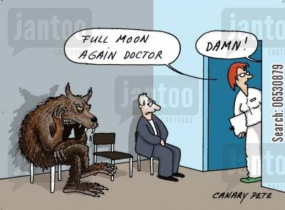 full moon cartoon humor: 'Full moon again Doctor.'