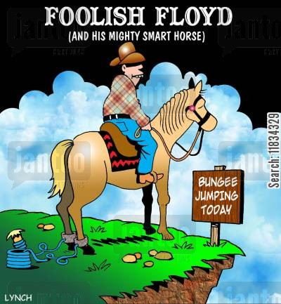 bungee cord cartoon humor: Foolish Floyd and His Mighty Smart Horse