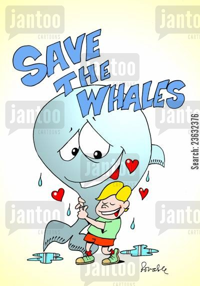 endangered animals cartoon humor: Save the Whales.