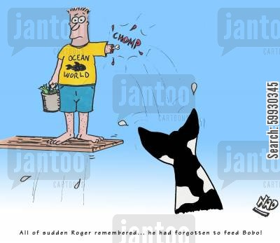 sea life center cartoon humor: All of a sudden Roger remembered... he had forgotten to feed Bobo!