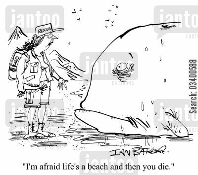 beached whales cartoon humor: I'm afraid life's a beach and then you die.