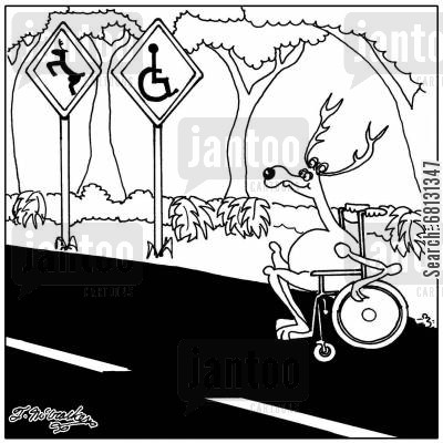 deer crossing cartoon humor: A deer crosses the road in a wheel chair where there's both a deer crossing and a handicap sign.