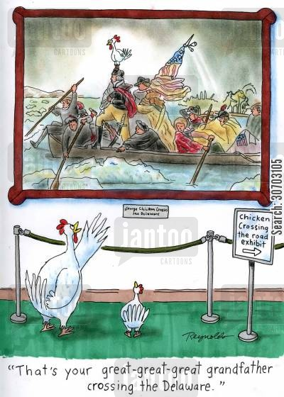 delaware cartoon humor: 'That's your great-great-great grandfather crossing the Delaware.'