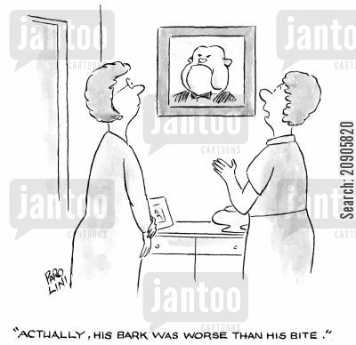 seperation cartoon humor: 'Actually, his bark was worse than his bite.'