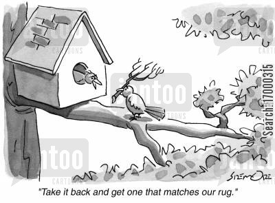 argueing cartoon humor: 'Take it back and get one that matches our rug.'