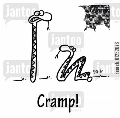 stiff muscles cartoon humor: Cramp!