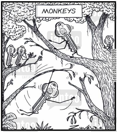 locking cartoon humor: Monkeys Monkeys in the form of Lock keys