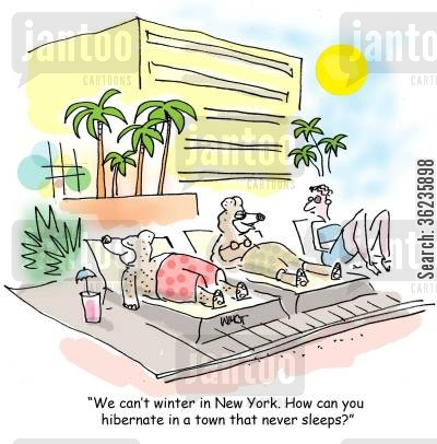 big apple cartoon humor: 'We can't winter in New York. How can you hibernate in a town that never sleeps?'