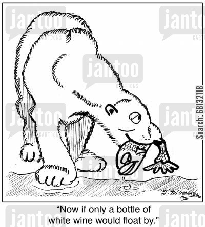 forest animals cartoon humor: 'Now if only a bottle of white wine would float by.'