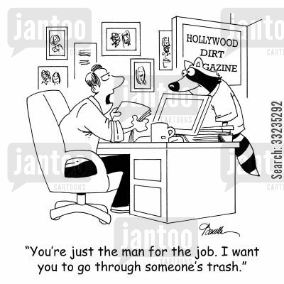 garbage can cartoon humor: 'You're just the man for the job. I want you to go through someone's trash.'