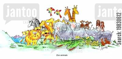 rhinos cartoon humor: Zoo animals.