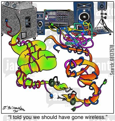 audio technician cartoon humor: 'I told you we should have gone wireless.'
