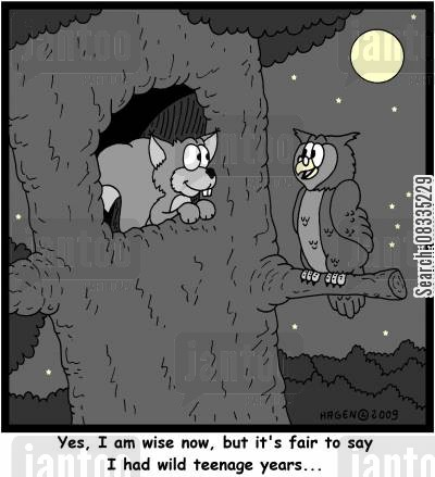 nightime cartoon humor: 'Yes, I am wise now, but it's fair to say I had wild teenage years...'