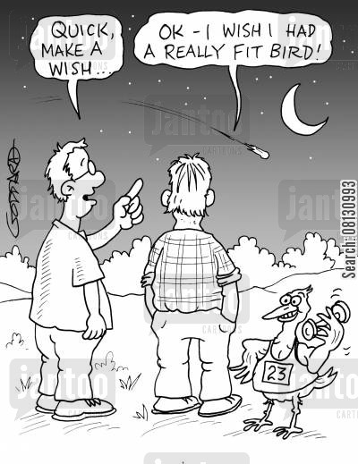 fit birds cartoon humor: Quick, make a wish... I wish I had a really fit bird!