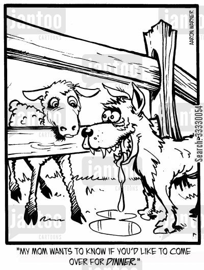 lamb cartoon humor: 'My mom wants to know if you'd like to come over for dinner.'