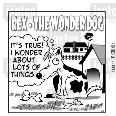 rex cartoon humor: Rex the wonderdog - It's true! I wonder about lots of things.