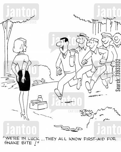 rescuing cartoon humor: 'We're in luck...they all know first-aid for snake bite!'