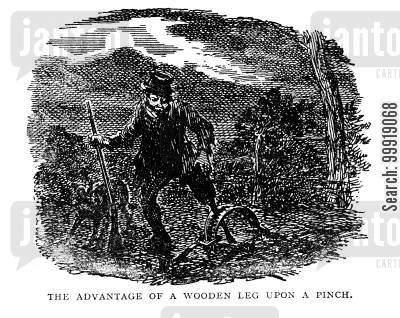 victorian surgery cartoon humor: The Advantage of a Wooden Leg Upon A Pinch