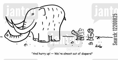 stone ages cartoon humor: 'And hurry up!- We're almost out of diapers!'