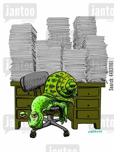 heavy workload cartoon humor: A snail sits at his desk swamped with workload.