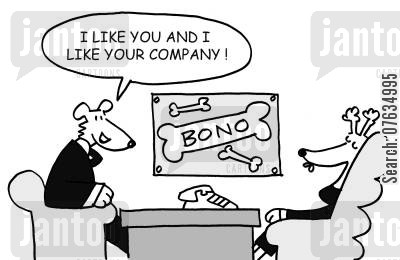 business account cartoon humor: I like you and I like your company!