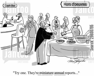 annual report cartoon humor: 'Try one...they're miniature annual reports.'