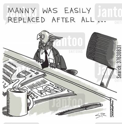 getting sacked cartoon humor: Manny was Easily Replaced After All,,,