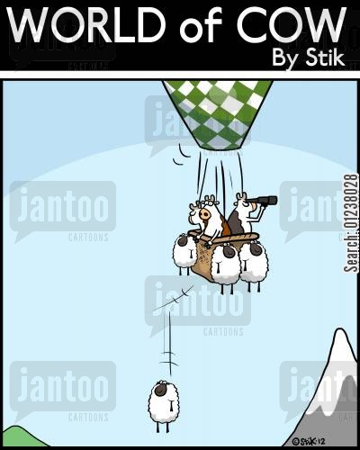 hot air balloon cartoon humor: Sheep Ballast