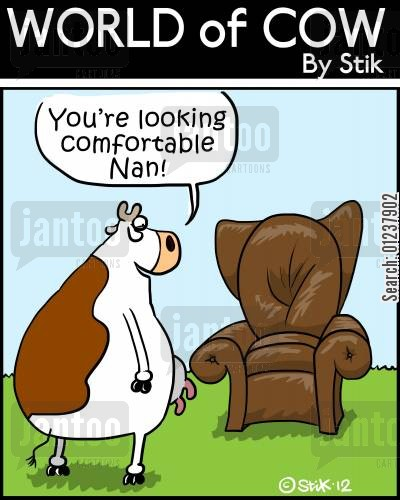 leather work cartoon humor: 'You're looking comfortable Nan!'