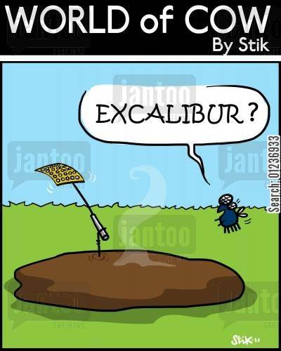 cow poos cartoon humor: EXCALIBUR?