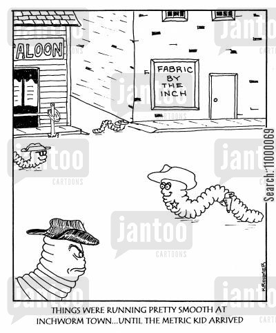 outsider cartoon humor: Things were Running Smooth at Inchworm Town until...