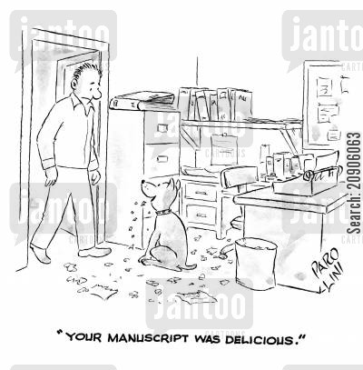 treat cartoon humor: 'Your manuscript was delicious.'