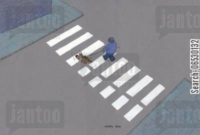 sniffing cartoon humor: Zebra crossing with dog.
