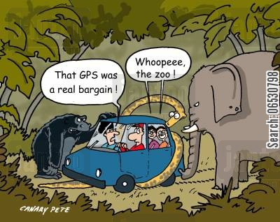 sat nav cartoon humor: That GPS was a real bargain!