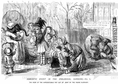 zoos cartoon humor: Domestic event in the Zoological Gardens No. I. - The nose of the hippopotamus put out of joint by the young elephant