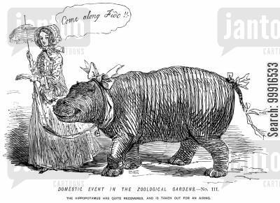 zoos cartoon humor: Domestic event in the Zoological Gardens No. III. - The hippopotamus has quite recovered, and is taken out for an airing.