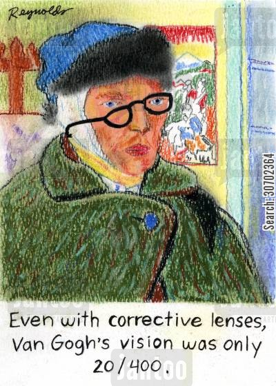 paintes cartoon humor: Even with corrective lenses, Van Gogh's vision was only 20400.