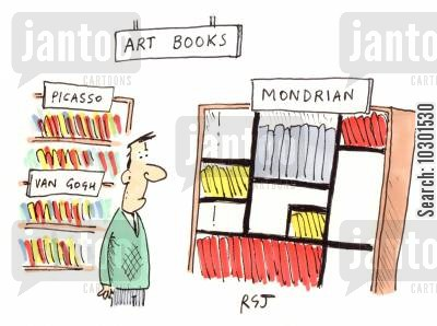 abstracts cartoon humor: Mondrian art books arranged in the style of his paintings.
