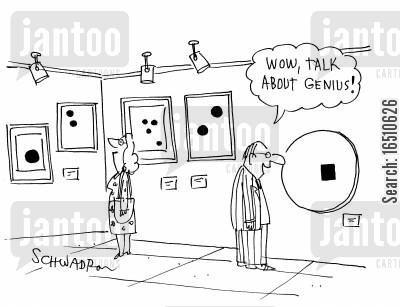 modern art cartoon humor: 'Wow, talk about genius!'