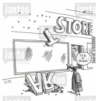 art shops cartoon humor: 'It's a sign,'