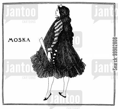 art nouveau cartoon humor: Moska - For A Symons's Article on Dieppe